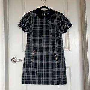 black plaid collared dress